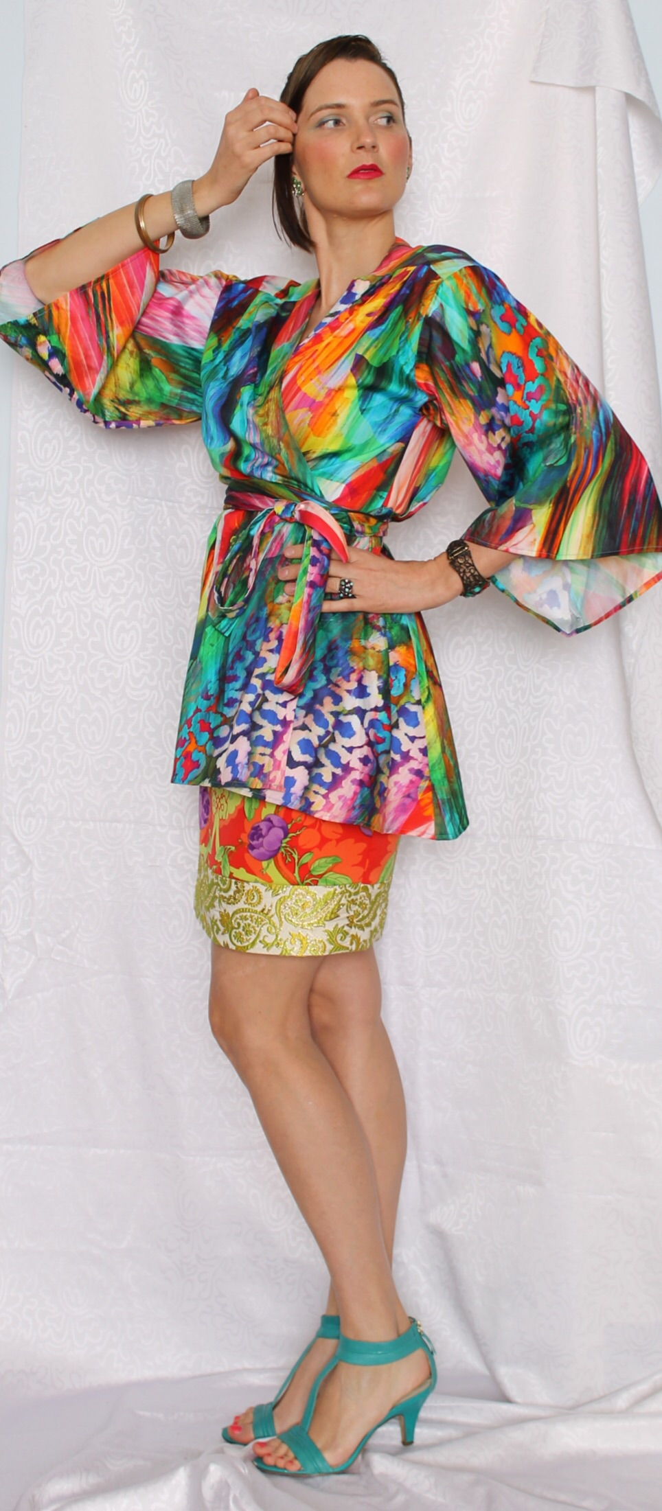 The Kaleidoscope Kimono worn with my one of a kind skirt... All handmade by me.