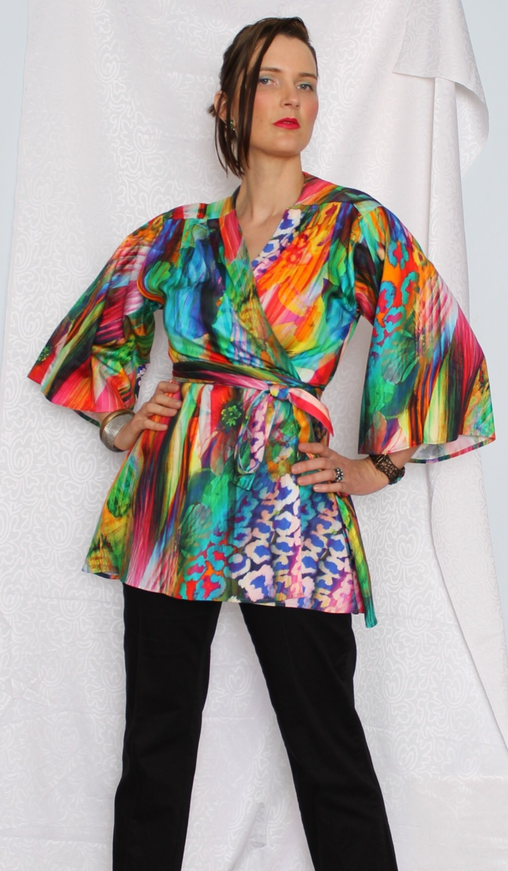 The Bright Kaleidoscope kimono worn here with black pants.