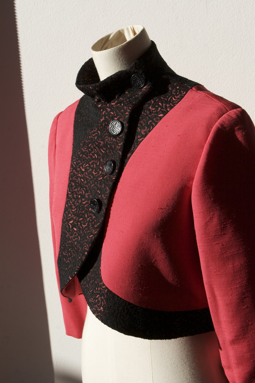 This Red Bolero Jacket is one of the first bolero's I ever created, but it still looks beautiful to me. Its handmade from two vintage fabrics, and the high Chinese Collar and wrap around style is gorgeous!