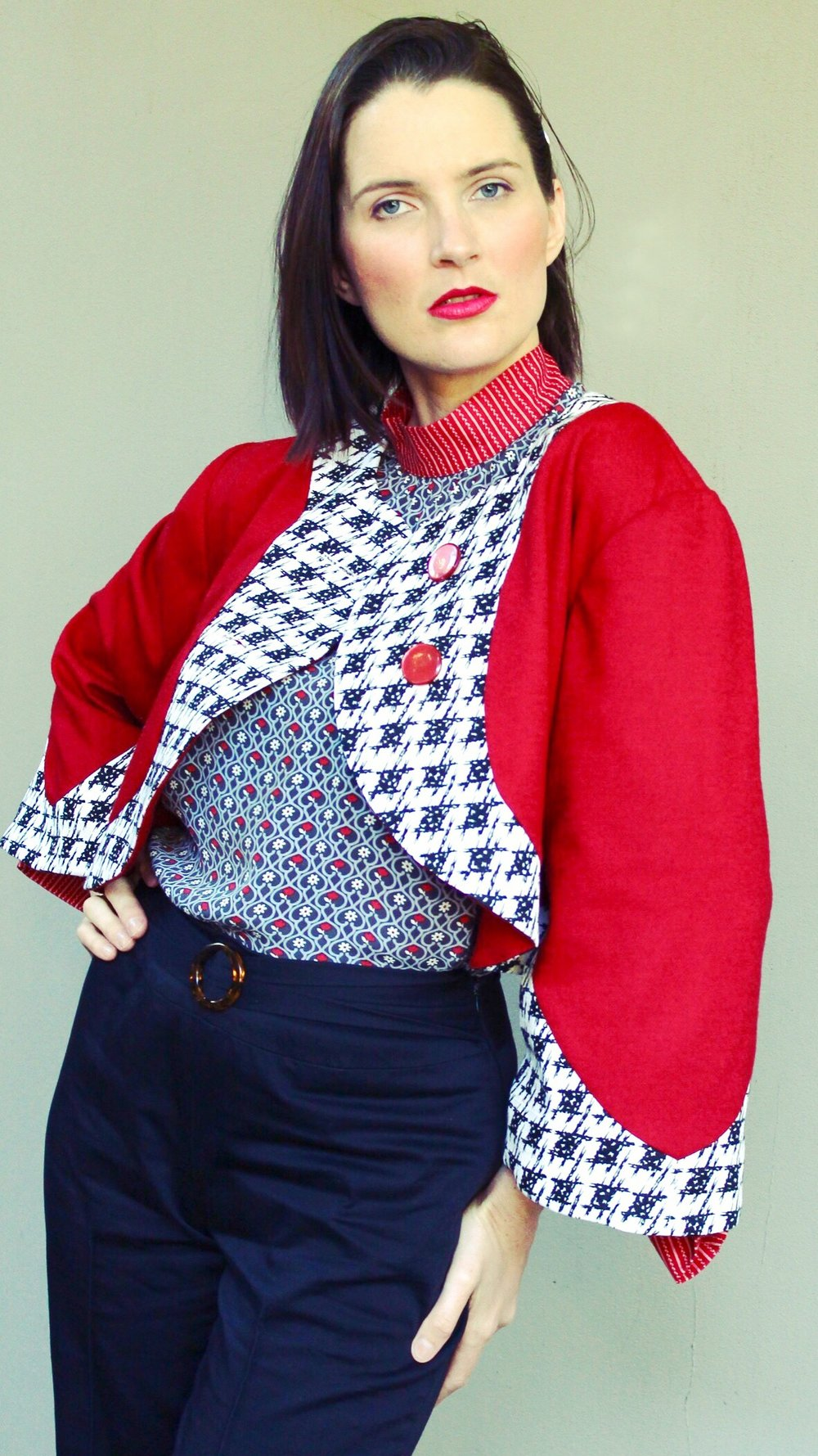 And again the current version I have created, the Red, Black and White Bolero. I only ever created two copies of his style, and only the size 8 is available. You can find it in the Penelope Red online shop here:   http://www.penelopered.com.au/shop/red-black-and-white-bolero-jacket