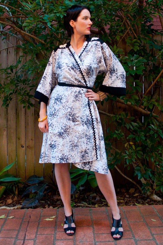 Black and White Kimono Dress, a one of a kind style, handmade from a vintage cotton.