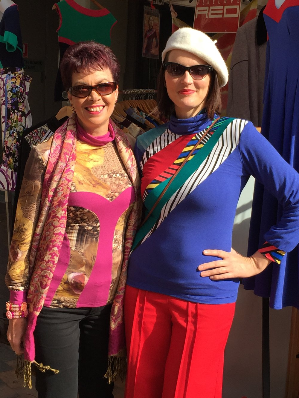 Leanne wears a one of a kind Pink and printed Skivvy that I designed especially for her. I am thinking I might have to make something similar like this next winter! I am wearing a bright blue and pop art inspired version of the Jigsaw Skivvy. One more copy of this version is available.