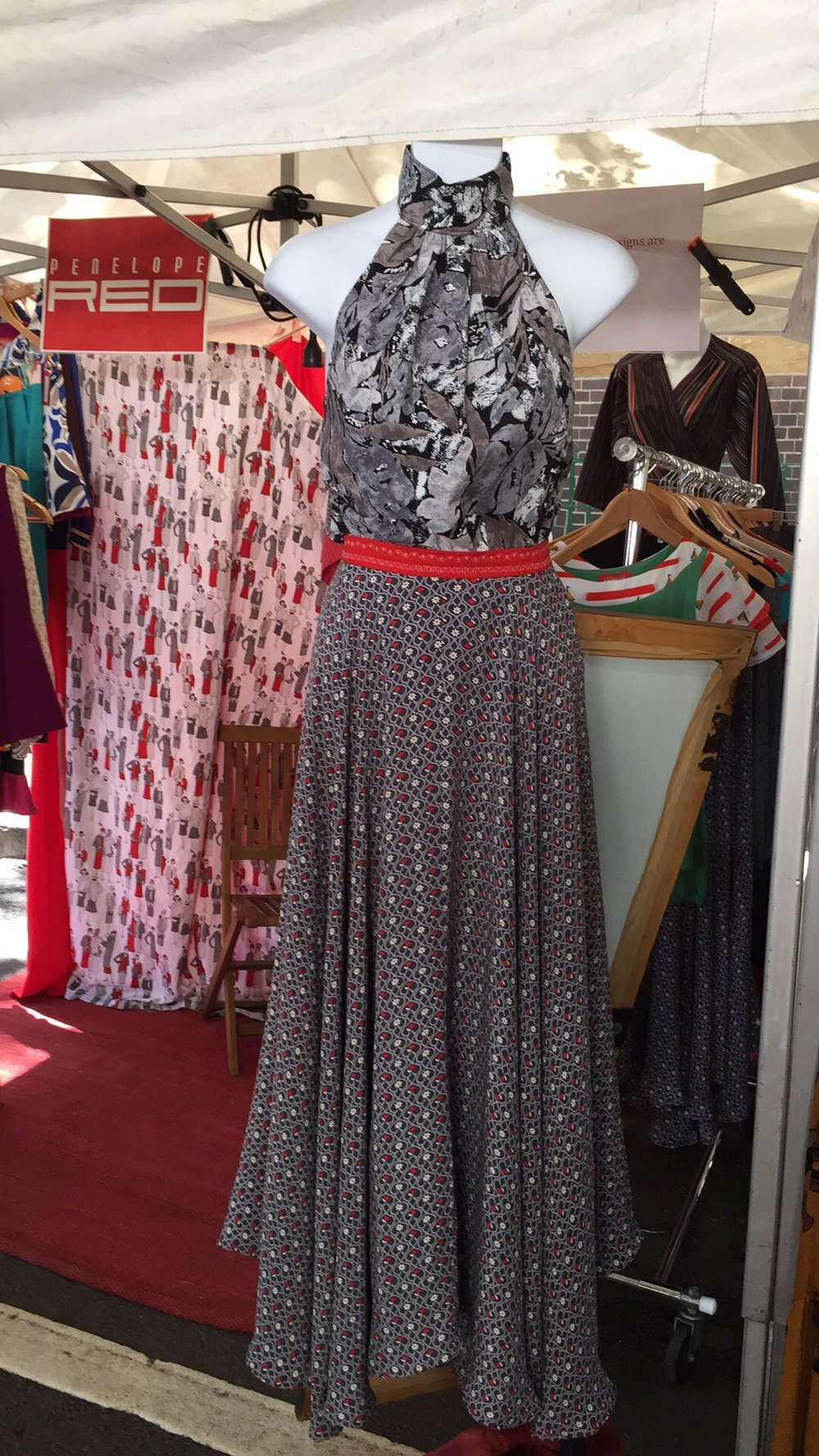 The Deco Red and Grey Full Circle Skirt gets lots of attention whenever I wear my copy of it too ( just like the above Pop Art A-line Dress) so I decided I must make more! It is made from a silk rayon fabric and simply glides as you move. Very beautiful!