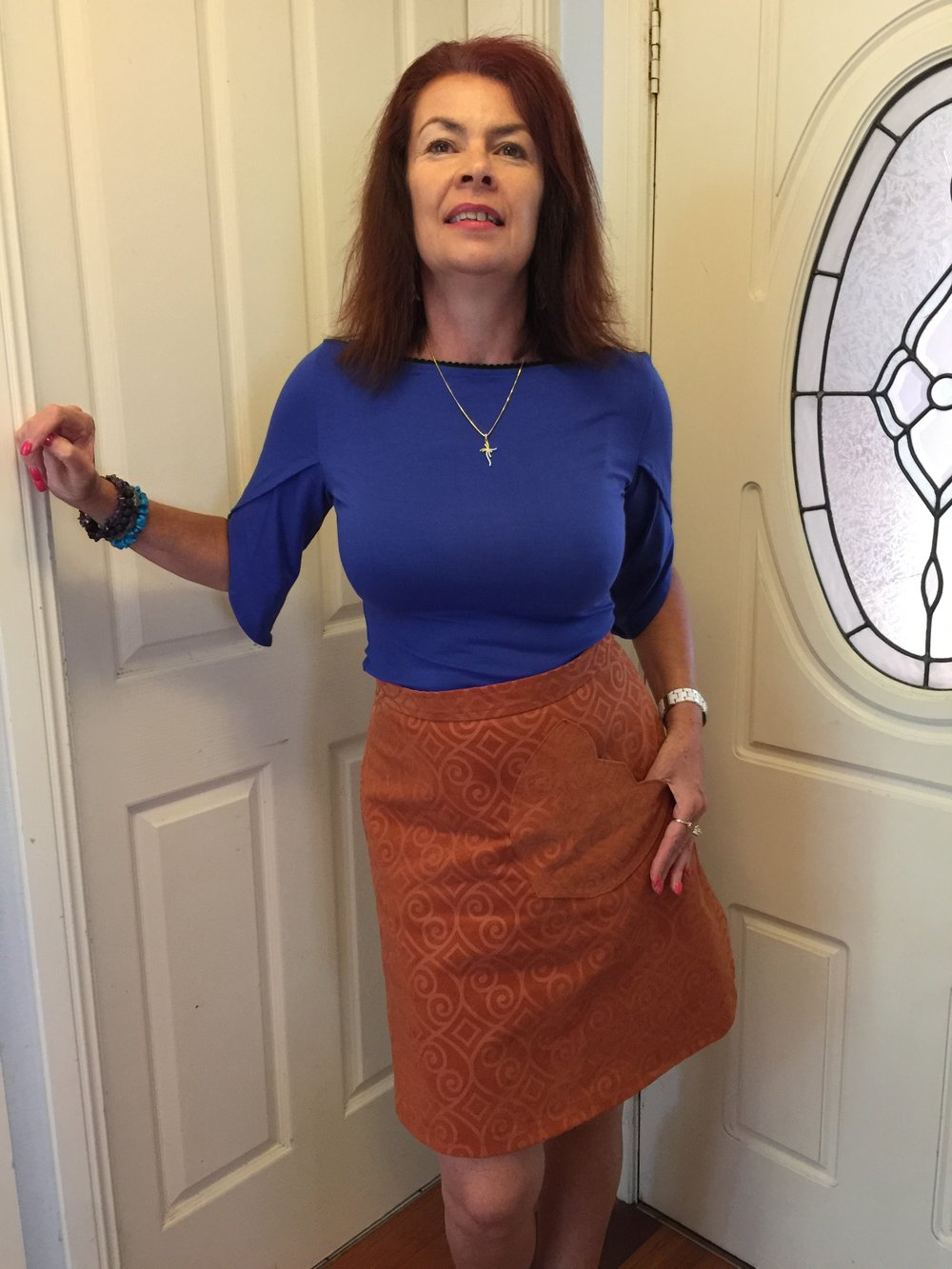 This blue knit top and A line skirt will be available for order too!