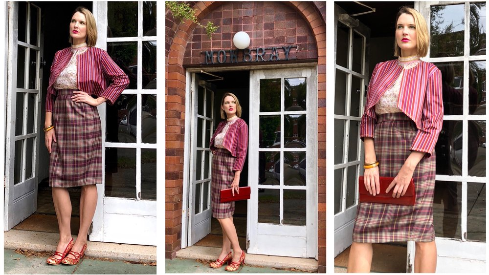 Be bold with your office wardrobe... try a new colour scheme...don't just settle for black, and try wearing a mix of print and textures!    The Stripe Jacket with Gold Thread Embroidery, and silk lining ($240 AUD); worn with the Plum Check Skirt.The skirt is SOLD OUT at time of posting.
