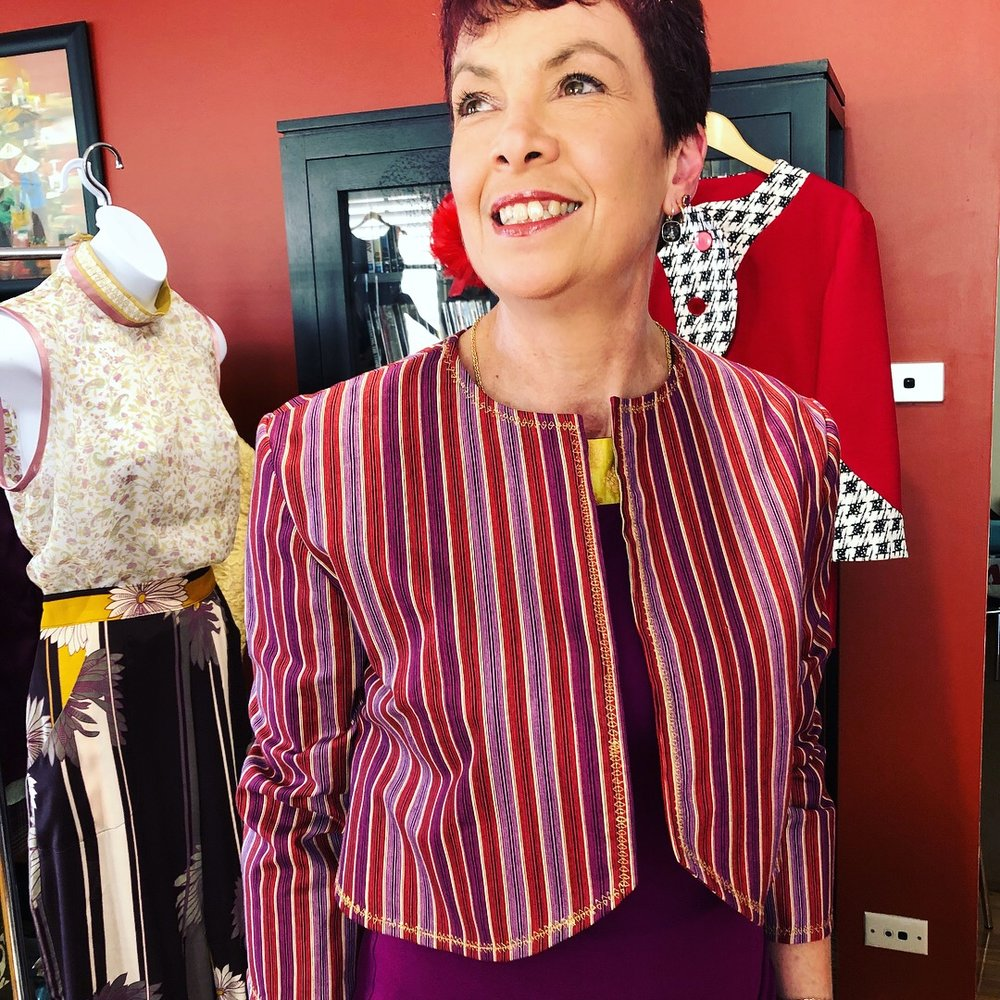 Leanne trying on the latest Stripe Bolero Jacket.
