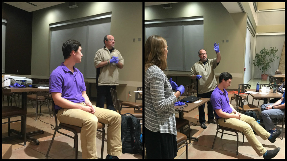 Hadden and Wilson giving a demonstration of our saliva testing study.