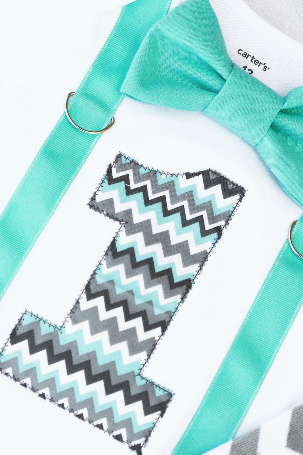Baby Boy Mint Green Grey Chevron First Birthday Cake Smash onesie