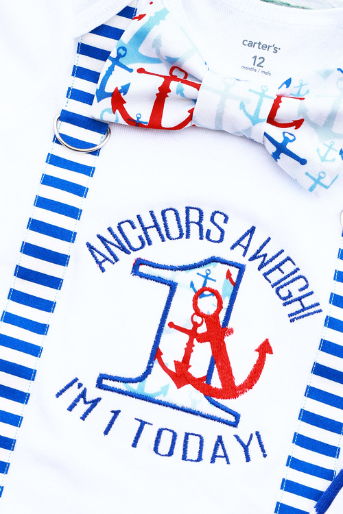 Baby Boy First Birthday Anchors A Weigh I Am 1 Today Nautical Themed ONE Cake Smash Outfit