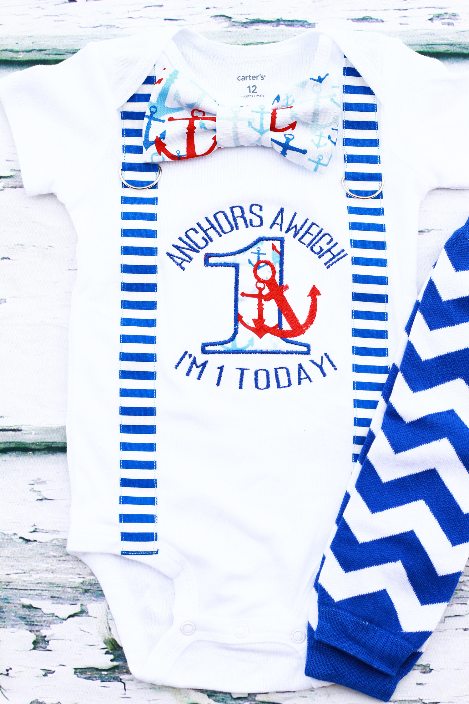 Baby Boy first birthday Anchors A Weigh I am 1 Today Nautical Themed