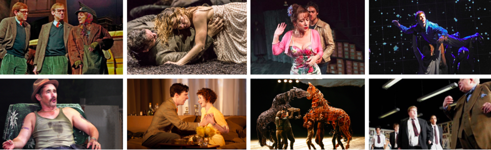 PHOTOS OF SHOWS OUR CLASS SAW IN THEIR ORIGINAL LONDON PRODUCTIONS     --------     TOP:  Maggie Smith in LADY IN A VAN / Billie Piper in YERMA / Helen Mirren in ORPHEUS DESCENDING / Luke Treadaway in THE CURIOUS INCIDENT OF THE DOG IN THE NIGHT-TIME     --------    BOTTOM:  Mark Rylance in JERUSALEM /  Benedict Cumberbatch in AFTER THE DANCE /   Handspring Puppets in WAR HORSE /  James Corden & Richard Griffiths in THE HISTORY BOYS