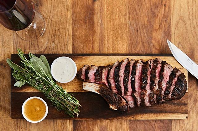 A must-try: Our 24oz Prime Cut Ribeye! Paired with a horseradish creme and au poivre sauce, awesome for sharing!