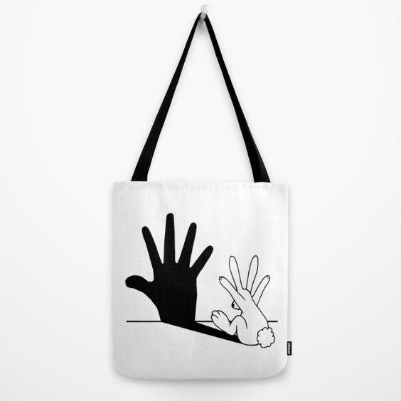 Rabbit Hand Shadow Tote $22 @  Society6