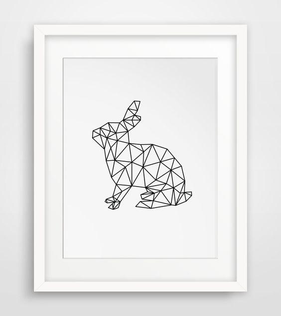 Geometric Rabbit Print $7 @  Melinda Wood Designs