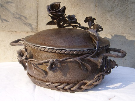 """Morning Glory and Rose""  (2008)  Forged steel with salt patina.   Inside dimensions: 4"" deep, 8.25"" diameter.  $475.00"