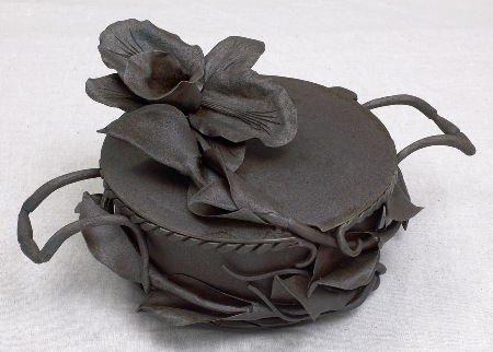 """Cattleya""   (2008)  Orchid pot  Forged steel with salt patina.  Inside dimensions: 4"" deep, 8.25"" diameter.  $550.00"