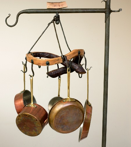 """Dutch Crown""  (2008)   Pot rack  Grape vine with forged steel  $350.00"