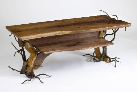 """Winter's Table""  (2009)  Forged and carved steel, black walnut, bittersweet, ebony. 48"" wide, 19"" deep, 18"" high. This is the first in a series of 4 seasonally inspired tables."