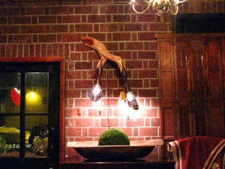 Hanging Wall Lamp  on display at the  Brick Garage    in Kennett Square, PA.