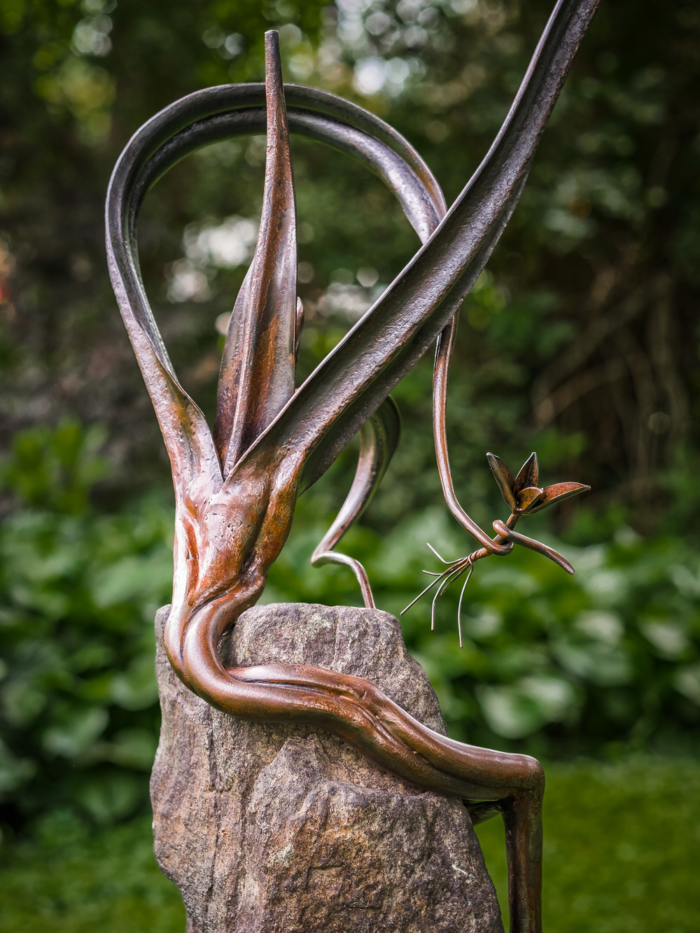 """Planting Time""  Forged steel, stone"