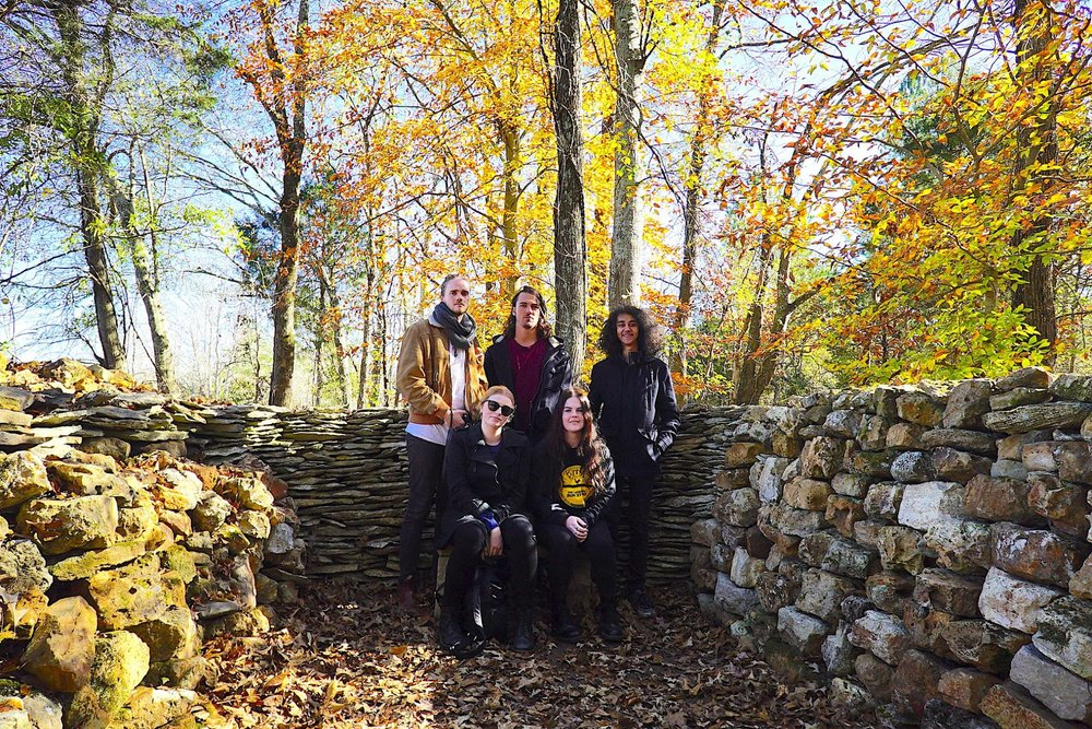 Group photo at Tom's Wall in Florence, South Carolina, USA. From left to right: Luke Pauley, MØNIQUE, Elliott J Hanh, ROYES and Josh King