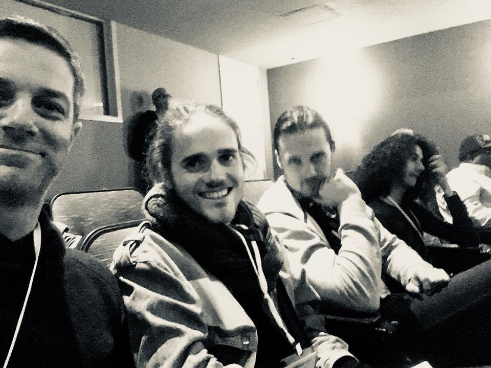 """""""Attending another open mic night despite being exhausted.Our brains may be fried but we are learning lots!"""" From left to right: Caleb James, Luke Pauley and Josh King."""
