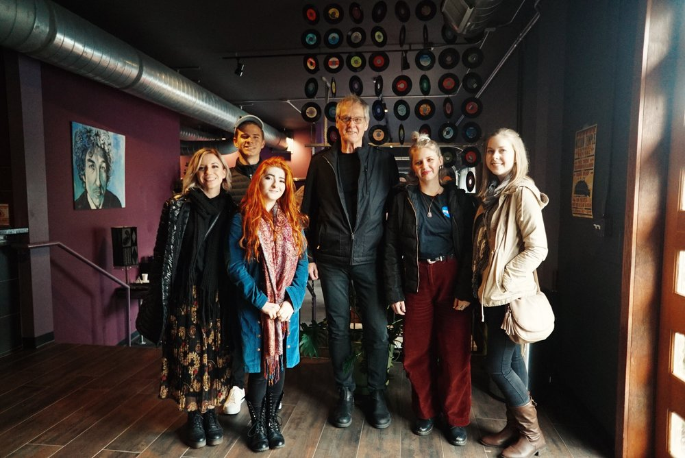 From left to right: Tiana Florea, Jordan Huxley, Gabrielle Kerr, Mark Moffatt (famed Australian producer and APRA Nashville rep), Tiahn Berg and Kaitlyn Martin.