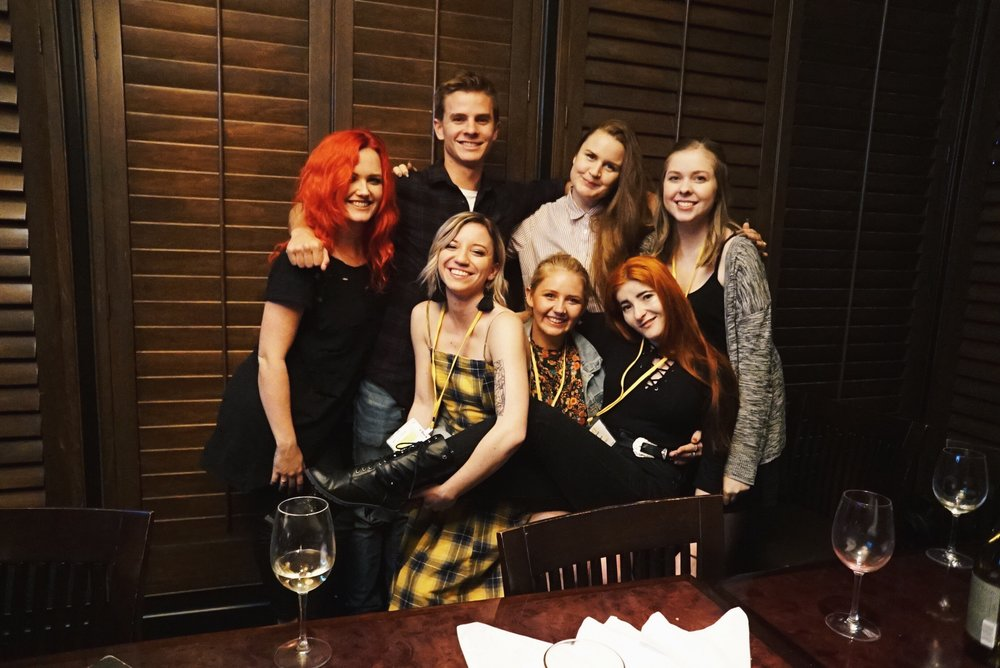 Group dinner during the TAXI Music Conference including Bachelor of Popular Music alum Leah (Evol Walks) and Jess.