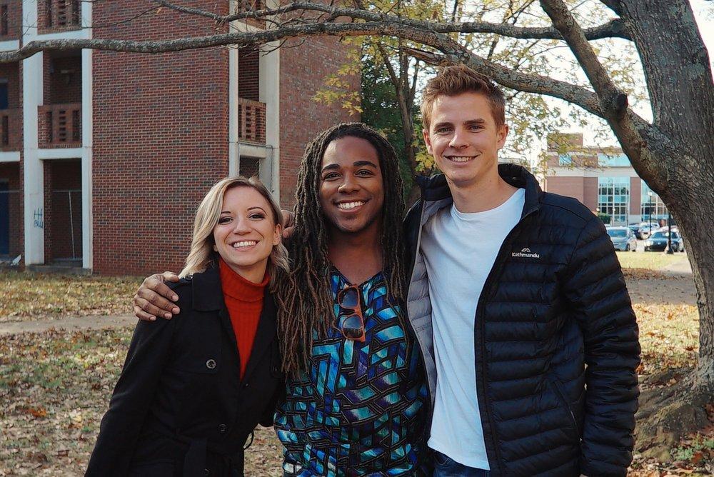 Tiana and Jordan with MTSU Songwriting student Demetrius.