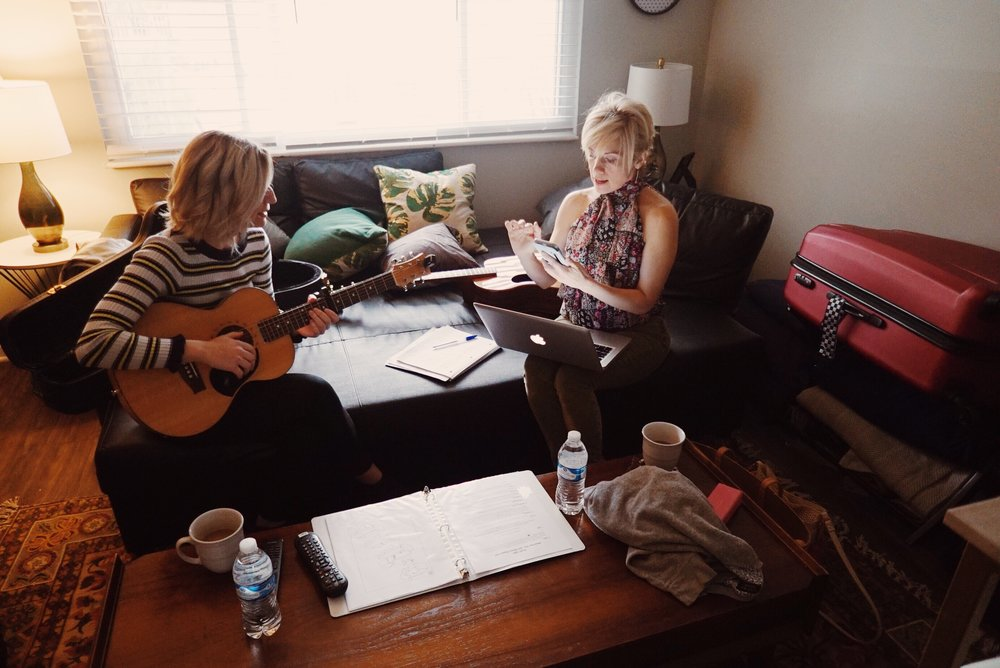 Tiana mid-songwriting session with Kimber Cleveland.