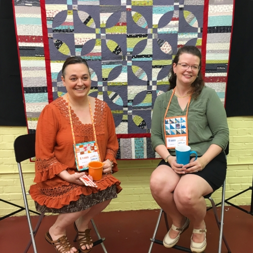 Lynn and Pam on The Stitch TV Show set for the Pattern Release Party