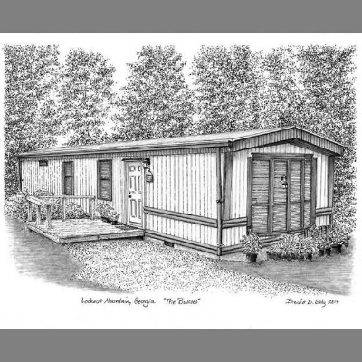 The Burrow-- our 840 square foot first home. 8 x 10 inches, Ink on paper.