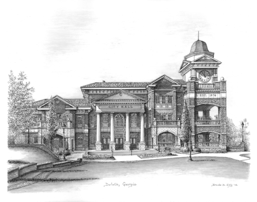 Duluth City Hall. Duluth, Georgia. 11 x 14 inches, Ink on paper.
