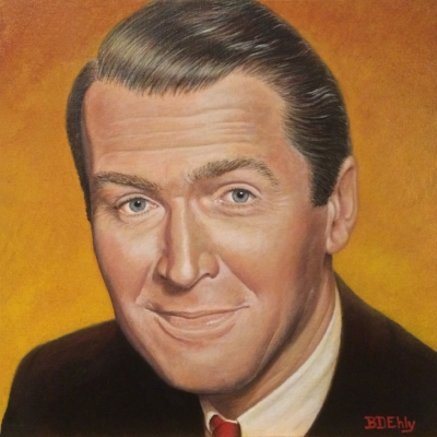 Portrait of Jimmy Stewart by Brenda. 12 x 12 inches, acrylic paints.