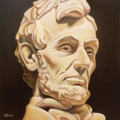 Abraham Lincoln. 12 x 12 inches, Acrylic paints.