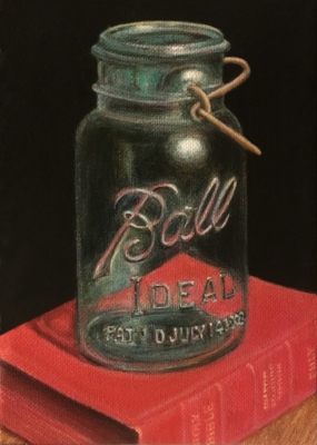 The Ball Jar. 5 x 7 inches, Acrylic paints