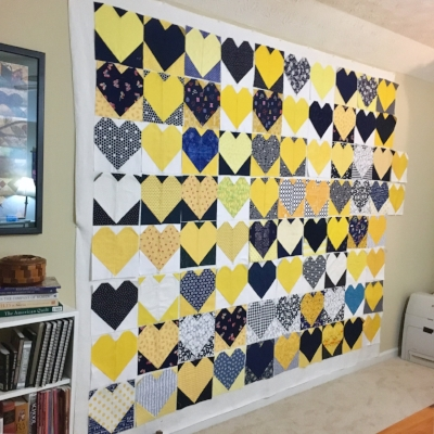 A visible example of creative community: lots and lots of heart blocks for #OperationSmiley