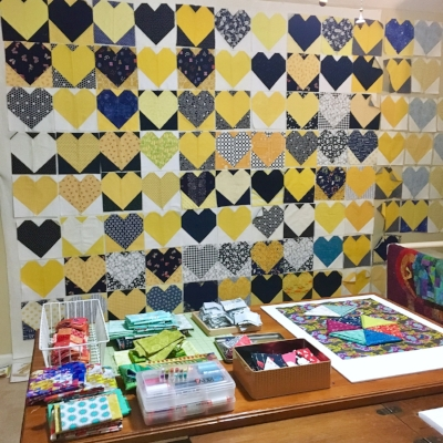 91 #OperationSmiley hearts up on the wall and just a few projects out on the table...
