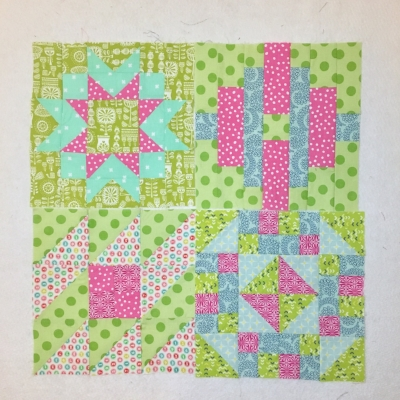 In addition to the quilting and binding, I also pieced two of these blocks (part of  Pat Sloan's Grandma's Kitchen Sew-a-Long ) and pieced 5 more snail's trail/wayfinder blocks