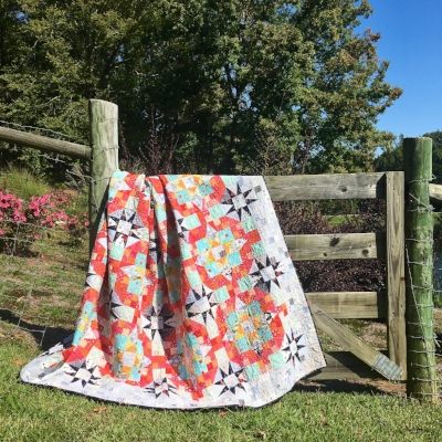 All done!! En Provence, Pieced and Quilted by HollyAnne Knight of String and Story, pattern by Bonnie Hunter