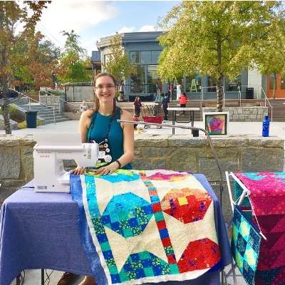 HollyAnne Knight of String and Story quilting in Parsons Alley Duluth GA for the Duluth Fine Arts League Art Walk