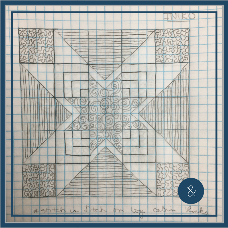 Stitch in the ditch on the log cabin blocks and around both the small and large star to emphasize the star shape. Then, FMQ the swirls, switchbacks, and meanders.