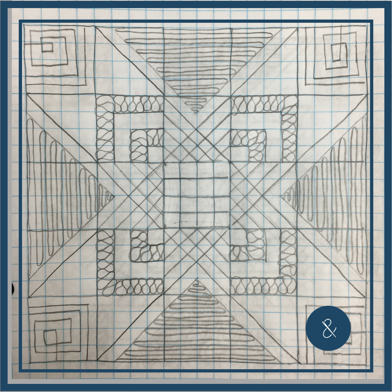 """Use your walking foot to create the crisscrossed grid lines in the center area and to """"outline"""" the large star, then FMQ the ribbon candies, switchbacks, and square spirals.If you're unsure about how to mark the straight lines, try a tool like the   Hera Marker."""