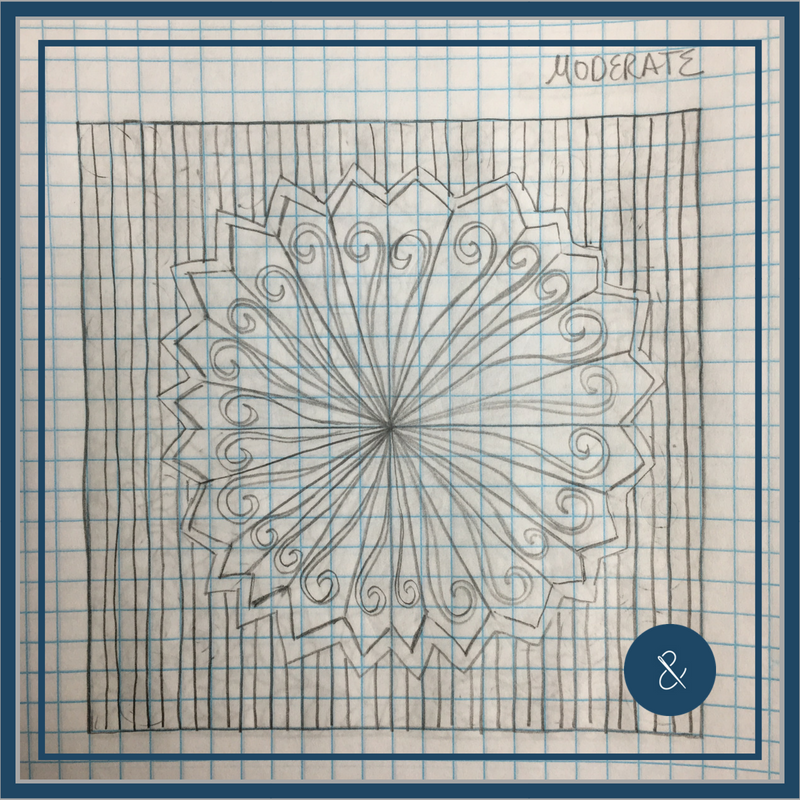 Decorate your dresden with elongated swirls, then use your walking foot to outline the dresden and create the simple straight-line background. If you're unsure about how to mark the straight lines, try a tool like the   Hera Marker.