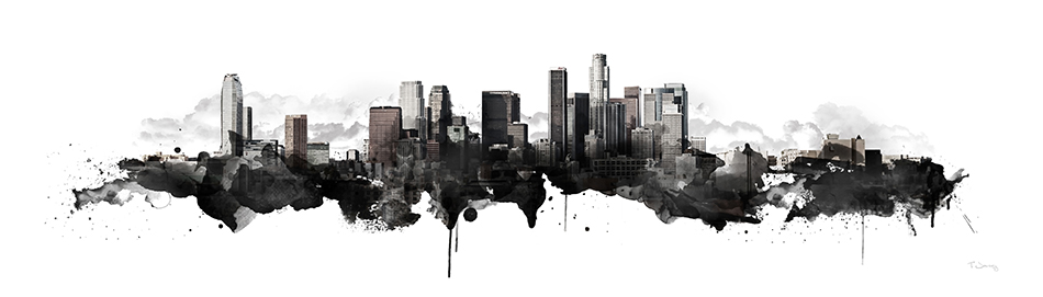 LOS ANGELES WATERCOLOR SKYLINE