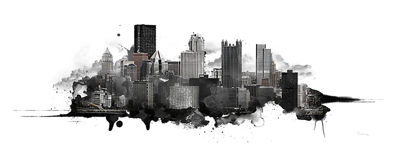 PITTSBURGH WATERCOLOR SKYLINE