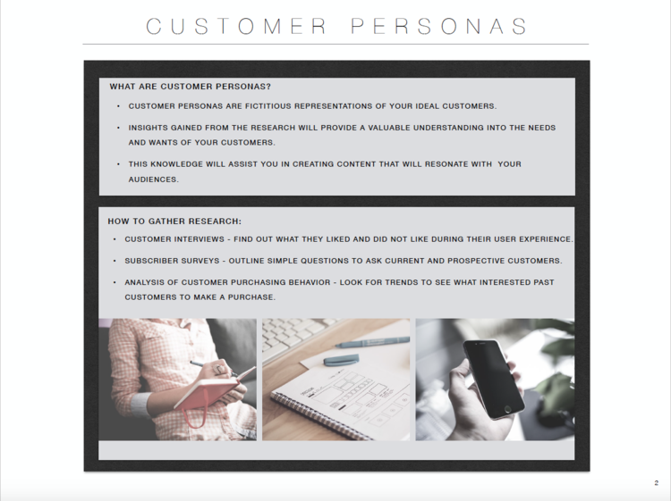 written styled free customer persona template