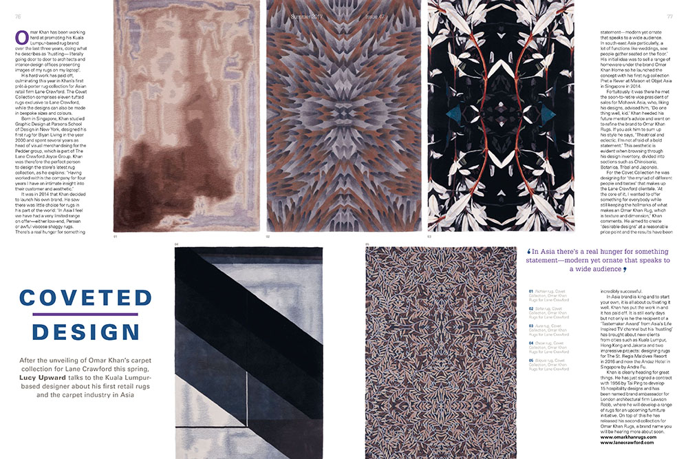 OMAR KHAN RUGS FEATURED IN COVER