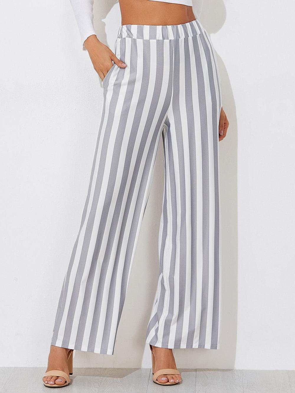 Block Striped Wide Leg Pants - $9.99