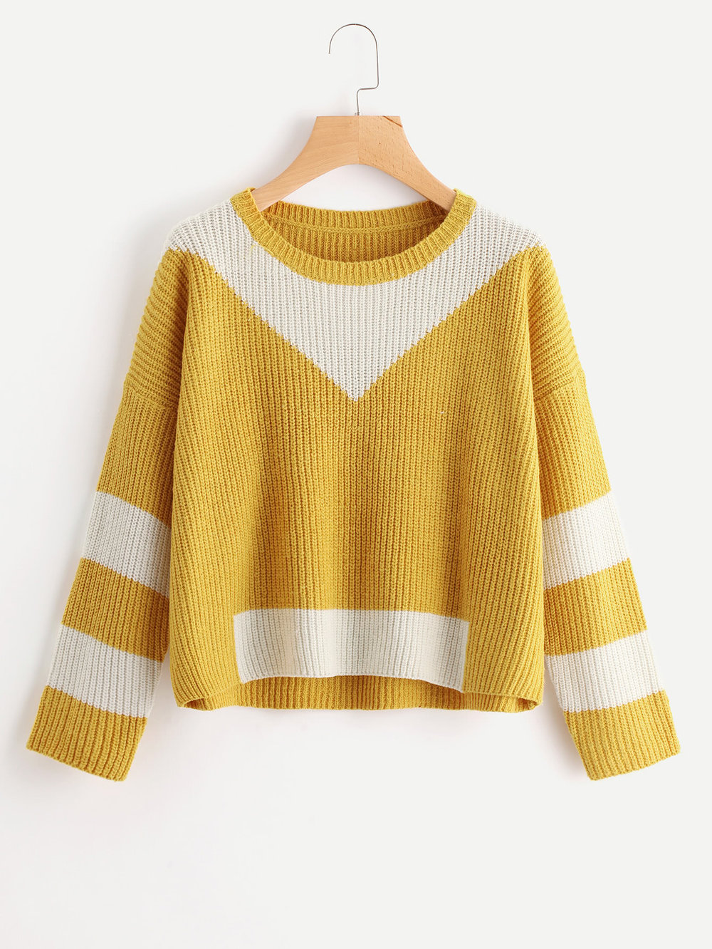 Drop Shoulder Contrast Panel Sweater - $17.99*The one I bought is currently sold out ($20.99)
